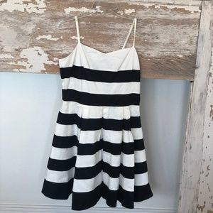 Ark & Co Black & White Stripe Peplum Dress